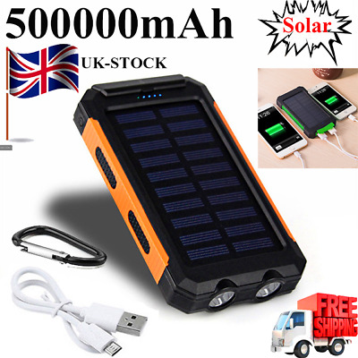 Waterproof Solar Power Bank 500000mAh 2USB LED Battery Charger Outdoor Compass
