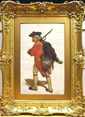 Large 19th Century British Military Redcoat Soldier Portrait Oil Painting Signed