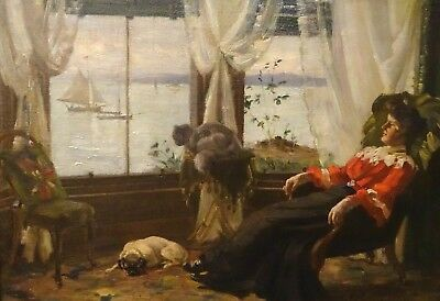 Large 19th Century British Lady Dog & Ships Sailing Afternoon Interior COWIESON
