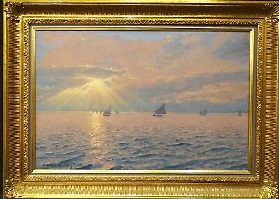 Large Early 20th Century German Impressionist Ships Sailing At Sunset Antique