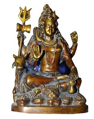 Lord Shiva Statue Brass Hindu Indian God Bronze Resin High Quality Seated Figure