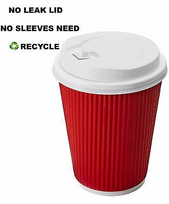 60 Pack -12 oz Premium Quality Disposable Hot Paper Coffee Cups With Lids - Ripp