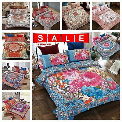 4 Piece Bohemian Duvet Quilt Cover Bedding Set with Pillow Cases & Fitted Sheet