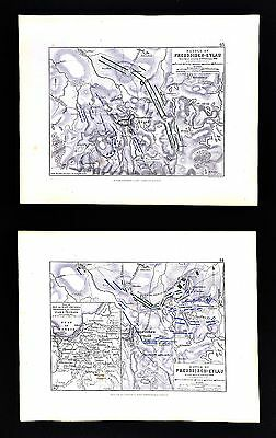 1855 Alison Johnston Military 2 Maps Napoleon Battle of Preussisch Eylau Poland