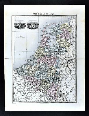 1880 Lacoste Migeon Map Netherlands Holland Belgium Luxemburg Amsterdam Brussels