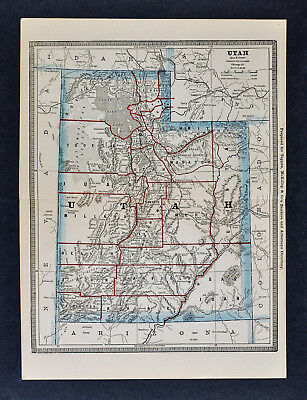 1886 Banker Attorney Map by Cram - Utah Great Salt Lake City Moab Provo Ogden UT