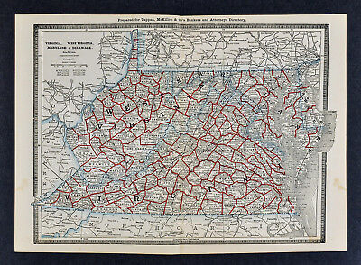 1886 Banker Attorney Map by Cram - Virginia & West VA Maryland Washington DC