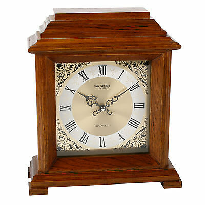 Walnut Finish Wood Large Mantel Clock.new And Boxed.wooden Mantle