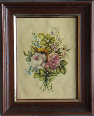 """""""Bouquet of Flowers"""" - Miniature enameled on hammered copper plate"""