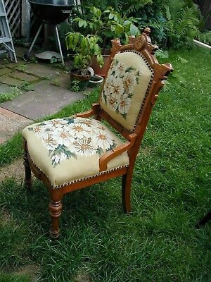 Beautiful Antique Eastlake Needlepoint Chair