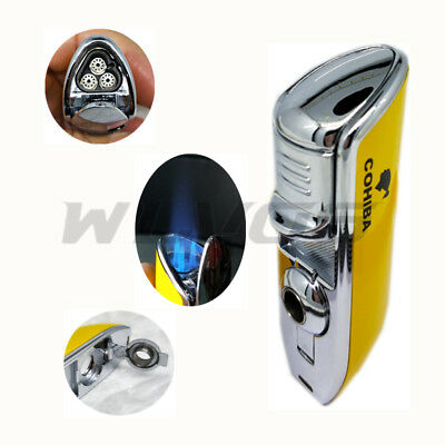 COHIBA Metal Yellow three Torch JET Flame Cigar Cigarette Lighter With Punch