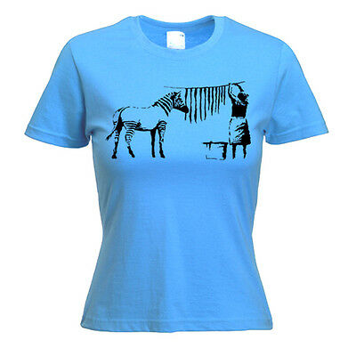 BANKSY HANGING OUT ZEBRA STRIPES WOMENS T-SHIRT -Choice of Colour -Small-XXXL