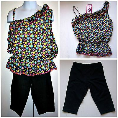 Summer Top Black capri Leggings Set Girls Size 7  8  10 12