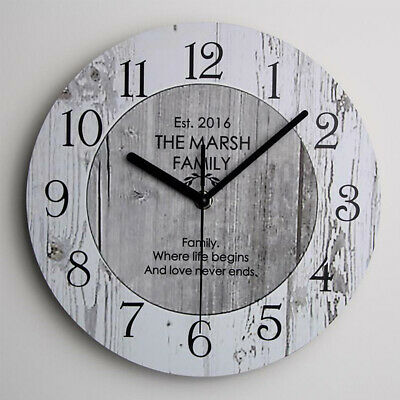 Shabby Chic Large Wooden Kitchen Wall Clock Wedding Gift Home Decor UK