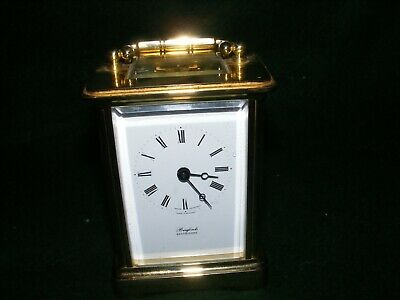 Lovely Brass Carriage Clock Swiss Movement Brufords Eastbourne Timepiece Gwo