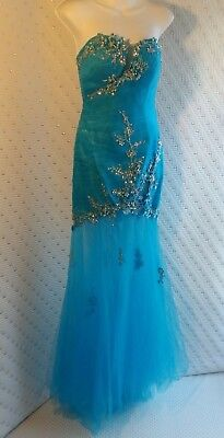 JEWELED * MERMAID GOWN Opt'l Strapless DANCE Wedding Party PROM Pageant Dress 6