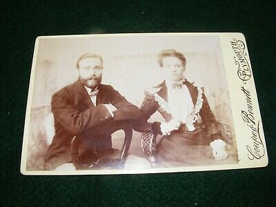 Antique Cabinet Card Photo Lady Gent Young Couple Fashion Coupe Bennett Plymouth