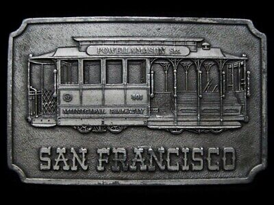 Lh23125 Vintage 1975 ***San Francisco Cable Car*** Souvenir Belt Buckle