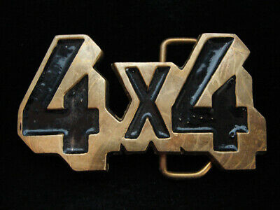 NI01170 VINTAGE 1970s CUT-OUT **4X4** OFF-ROAD SOLID BRASS BARON BELT BUCKLE
