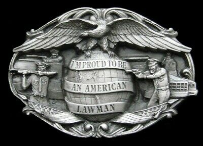Oh16101 *Nos* Vintage 1985 *I'm Proud To Be An American Lawman* Bergamot Buckle