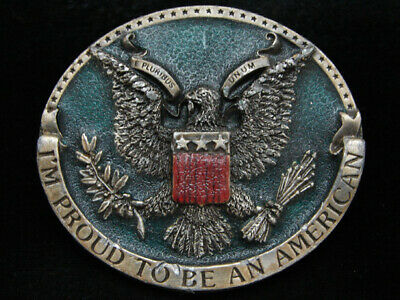 Oc07125 Vintage 1981 **I'm Proud To Be An American** Bergamot Belt Buckle