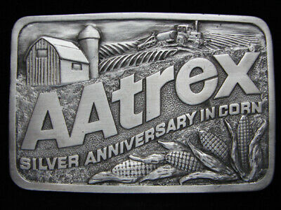 OI01120 *NOS* VINTAGE 1980s **AATREX SILVER ANNIVERSARY IN CORN** PEWTER BUCKLE