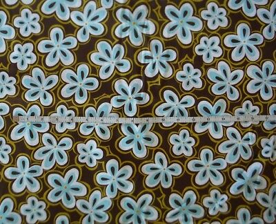 Turquoise and Brown Dot Flowers on Cream By The Yard CFLBLU03660