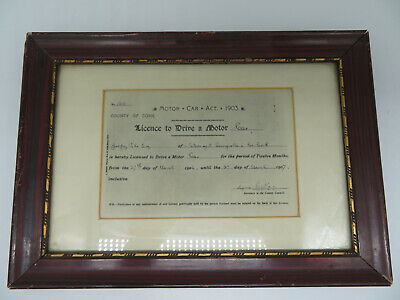 MOTOR Car Act 1903 Licence to Drive a Motor Car  Country of York gerahmt 31x22cm