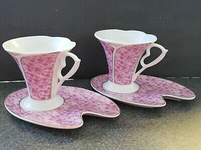 Fine Porcelain 4 Piece Tea Cup And Saucer Set By YMM Napoli, Purple