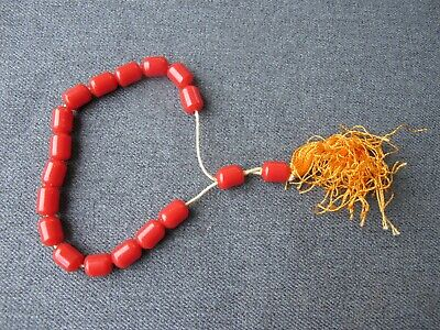 Vintage red galalith turkish prayer beads rosary