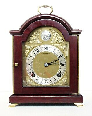 "Elliott Mappin & Webb Striking Bracket / Mantel Clock, Mahogany, 10"", Serviced"