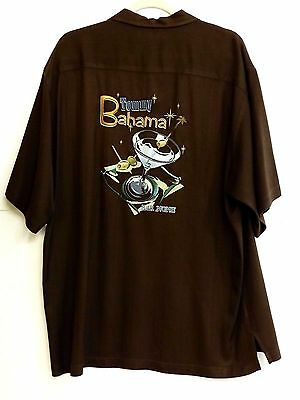 "EUC Tommy Bahama Men's Size L Brown Embroidered ""Bar None"" 100% Silk Shirt"