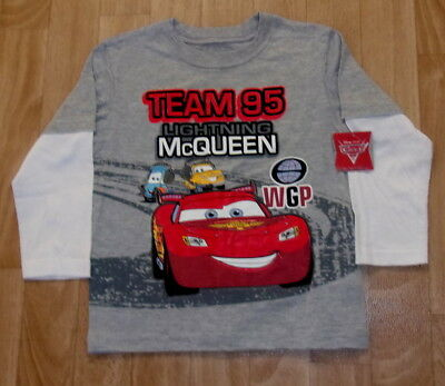 Disney Cars Lightning Mcqueen 2 In 1 Long Sleeve Shirt Size 4T New With Tags