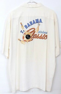 "GUC Tommy Bahama Men's Size L Embroidered ""Pinheads Classic"" Ivory Silk Shirt"