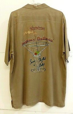 "VGUC Tommy Bahama Mens Size L Embroidered ""Bikinitini"" Brown 100% Silk Shirt"