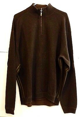 VGUC Tommy Bahama Mens Size XL 100% Cotton Long Sleeve Quarter Zip Brown Shirt