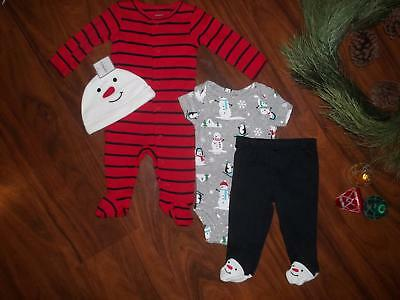 NWT Carter Boy Snowman Bodysuit Hat Clothes Outfit Sleeper Lot 3 Month Christmas
