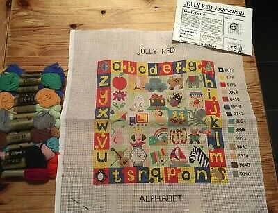Alphabet Sampler Jolly Red Needlepoint Tapestry Kit Very Cute Animals Letters