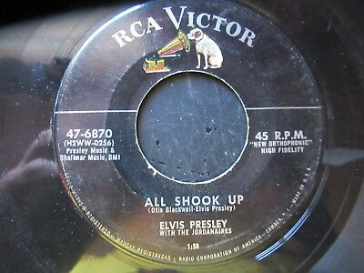 45 RPM Record  ELVIS PRESLEY   All Shook Up   RCA DOG ON TOP VG+