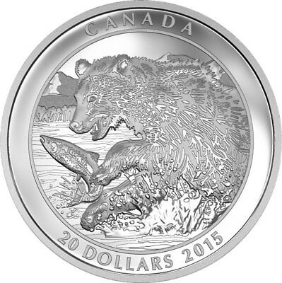 2015 Rcm Grizzly Bear $20 Fine Silver Coin. (The Catch)