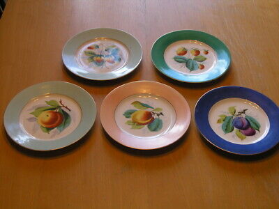 Five Early Antique Hand Painted Fruit Plates 7 3/4 inches As Shown