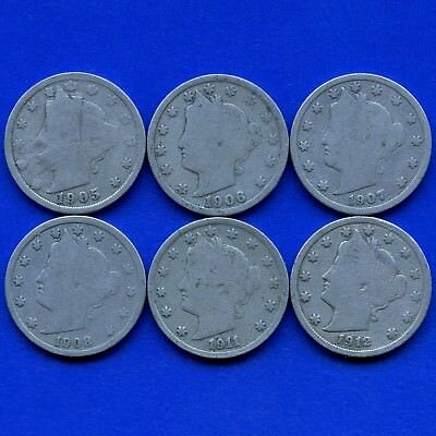 United States 1905 1906 1907 1908 1911 & 1912 Liberty 5 Cent Coins