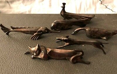 Gallia Christofle 6 porte couteaux animaliers Sandoz 6 animals knife rests