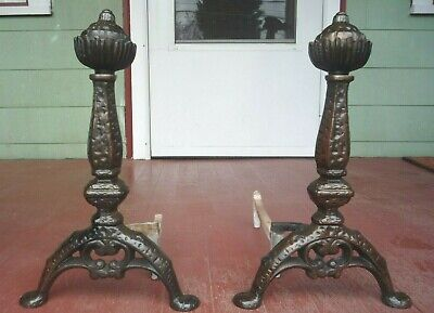 Antique ornate  ARTS & CRAFTS hammered Cast Iron ANDIRONS thistle Finial 4820