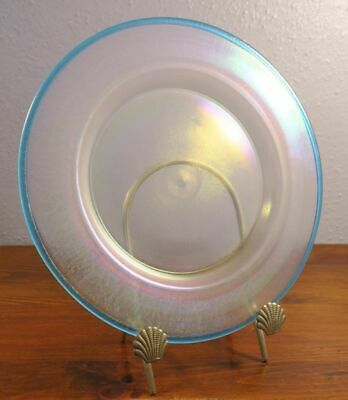 Steuben Carder Era Verre de Soie and Cyprian Blue Art Glass Plate.  5B