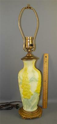 Vintage Phoenix Consolidated Satin Glass Yellow Flowers Table Lamp