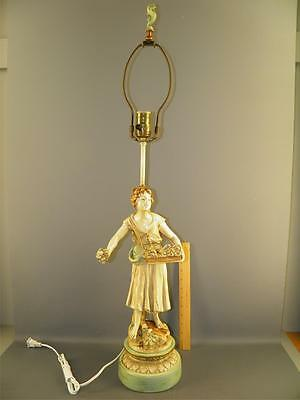 L&F MOREAU French SPELTER Table Lamp ORIGINAL FINIAL Figural Girl Flowers