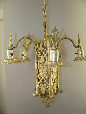 Ornate Heavy Brass Figural Knights Spanish Revival Gothic Tudor Chandelier Light