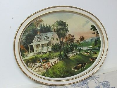 """Vtg. Promo Sunshine Biscuits: Currier & Ives """"American Homestead"""" Metal Tray"""