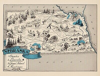 1930s Animated NEBRASKA State Map RARE Map Reprint Map of Nebraska usbl